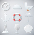 Paper Summer Sea Travel Weekend Trip Flat icon set vector image vector image