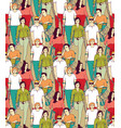 people with disabilities big group color seamless vector image vector image