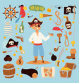 pirate stickers icons vector image vector image