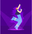 pretty flat cartoon girl singing on night stage vector image
