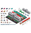 railway station constructor set vector image vector image