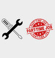 repair tools icon and distress part-time vector image vector image