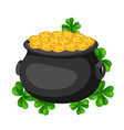 saint patricks day pot and gold with vector image