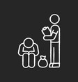 service for homeless chalk white icon on black vector image