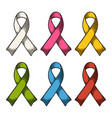 set color ribbons aids awareness isolated on white vector image