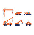 set construction equipment and machinery vector image