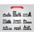 Set of flat design industrial buildings pictograms vector image