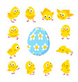 set of funny easter chickens and egg vector image vector image