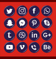 social media white circular icon vector image vector image
