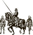 Soldiers and Knight on a Horse vector image vector image