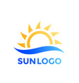 sun and wave logo element vector image vector image