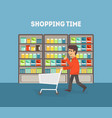 supermarket banner template man shopping at vector image