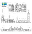 swedish set landmark icons vector image vector image