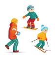 teen boys skiing snowboarding playing snowballs vector image vector image