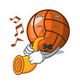 with trumpet volleyball mascot cartoon style vector image vector image