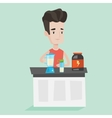 Young man making protein cocktail vector image vector image