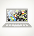 Modern laptop with abstract city map vector image