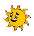 sun cartoon mascot character facial expression vector image