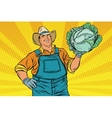 Rural retro farmer and a head of green cabbage vector image