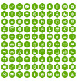 100 children activities icons hexagon green vector image vector image