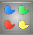 a set of blue green yellow red bird icons vector image vector image