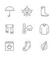 autumn season linear icons set vector image