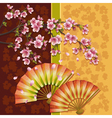Background with two fans and sakura Japanese vector image
