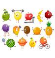 cartoon fruits sportsmen characters set vector image