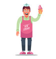 cheerful apron ice cream seller on a white vector image vector image