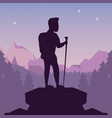 color night landscape silhouette of climber man at vector image vector image