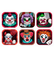 creepy clown app icons set gui assets vector image