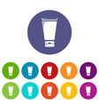 creme tube icons set color vector image vector image