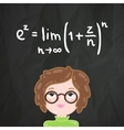 Cute cartoon smart girl and math formula