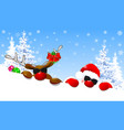 cute santa and deer with glasses vector image