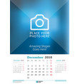 december 2018 wall monthly calendar for 2018 year vector image vector image