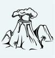 Exploding volcano vector image