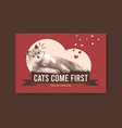 facebook template design with cute cat for social vector image vector image