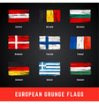 grunge flags set vector image