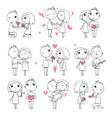 happy couples sketch valentines day characters vector image