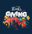 happy thanksgiving day in calligraphic hand drawn vector image