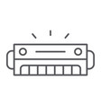 harmonica thin line icon music and sound wind vector image vector image