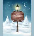 holiday evening winter landscape with lamppost vector image