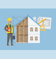 house engineering contractor and building vector image vector image
