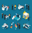 isometric people and insurance collection vector image