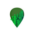leaf shape paper cut decor with green tropical vector image