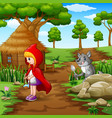 little girl red hooded scouted wolves vector image vector image