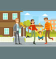 man selling or renting house to family couple vector image