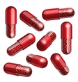 Medical red capsule with granules vector image vector image
