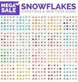 Mega collection of simple round snowflakes vector image
