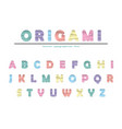 modern origami paper cutout creased font creative vector image vector image
